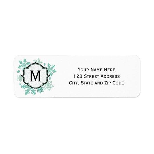 Blue Snowflake Monogram Address Labels