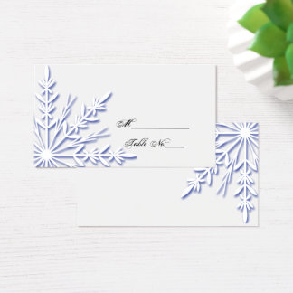 Blue Snowflake on White Winter Wedding Place Card