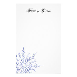 Blue Snowflake on White Winter Wedding Stationery