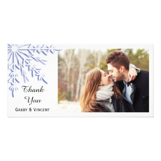 Blue Snowflake on White Winter Wedding Thank You Photo Card Template
