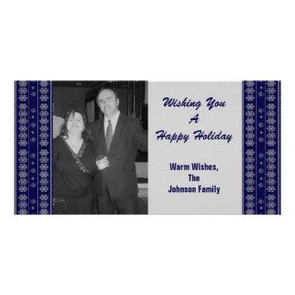 Blue Snowflake Pattern Christmas Custom Photo Card