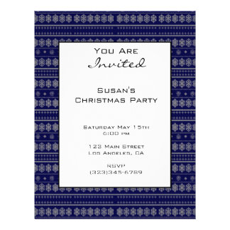 Blue Snowflake Pattern Christmas Full Color Flyer