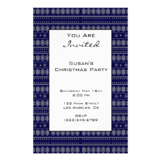 Blue Snowflake Pattern Christmas Custom Flyer