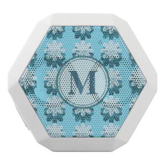 Blue Snowflake Pattern Monogram