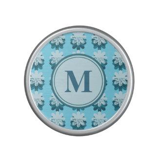 Blue Snowflake Pattern Monogram Bluetooth Speaker