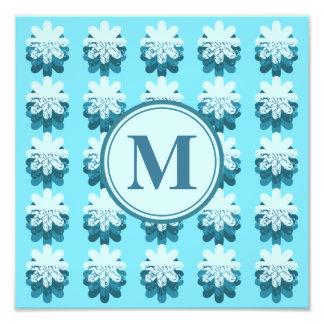 Blue Snowflake Pattern Monogram Photo