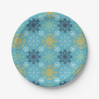 Blue Snowflake Pattern Paper Plate