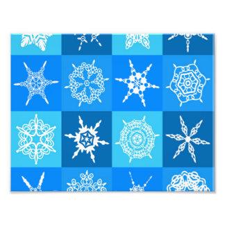 Blue Snowflake Pattern Photo Print