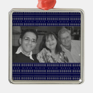 Blue snowflake pattern photoframe christmas ornament