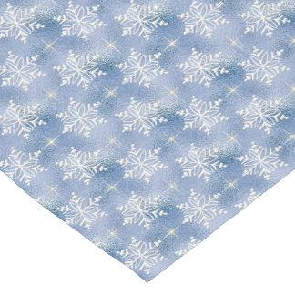 Blue snowflake pattern table runner