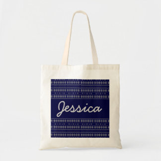 blue snowflake pattern tote bag