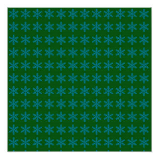 Blue Snowflake Pattern with Green Background