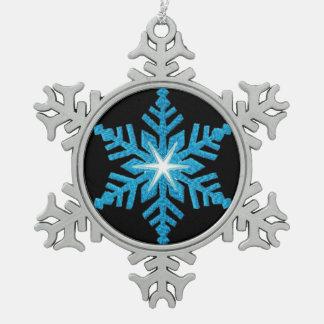 Blue Snowflake Pewter Snowflake Ornament