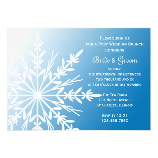 Blue Snowflake Post Wedding Brunch Invitation