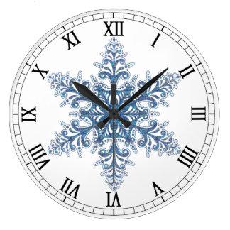 Blue Snowflake Round Roman Numerals Clock