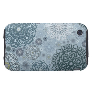 Blue Snowflake Shapes Tough iPhone 3 Case