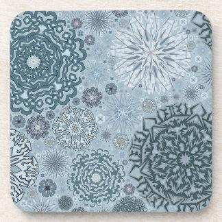 Blue Snowflake Shapes Coaster