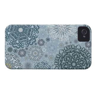 Blue Snowflake Shapes iPhone 4 Covers