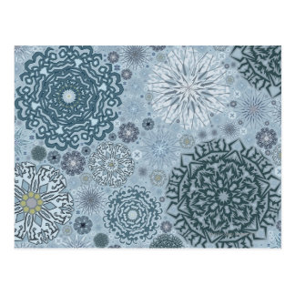 Blue Snowflake Shapes Postcard