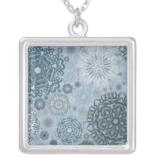 Blue Snowflake Shapes Silver Plated Necklace