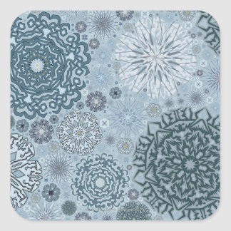 Blue Snowflake Shapes Square Sticker