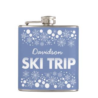 Blue Snowflake Ski Trip flask