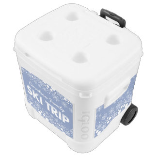 Blue Snowflake Ski Trip Igloo Cooler