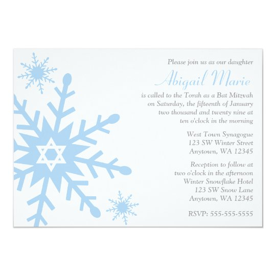 Blue Snowflake Star of David Bat Mitzvah Card