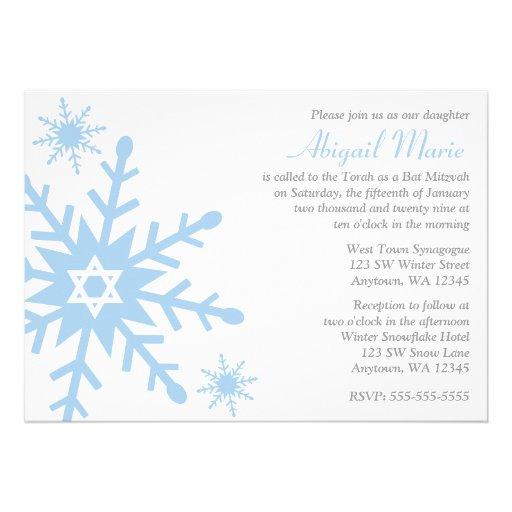 Blue Snowflake Star of David Bat Mitzvah Custom Announcements