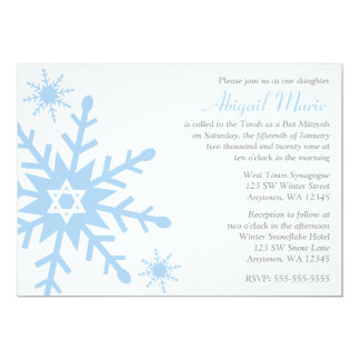 Blue Snowflake Star of David Bat Mitzvah 5x7 Paper Invitation Card