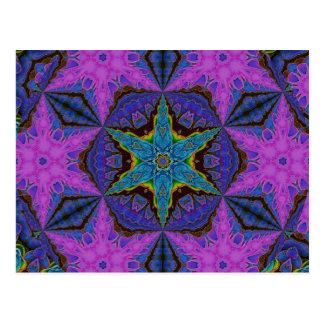 Blue Snowflake Starburst Kaleidoscopic Mandala Postcard