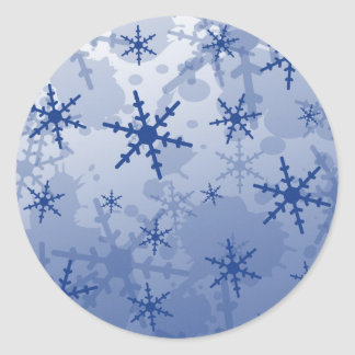 Blue Snowflake Round Sticker