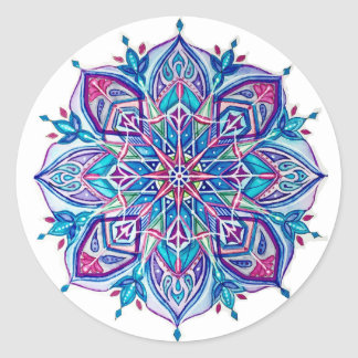 Blue Snowflake Stickers---Blue Star Design Classic Round Sticker