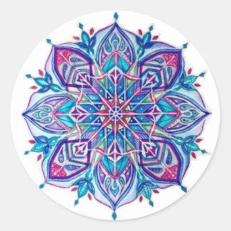Blue Snowflake Stickers---Blue Star Design Round Sticker