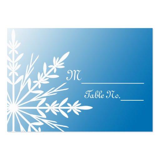blue snowflake wedding place cards zazzle. Black Bedroom Furniture Sets. Home Design Ideas