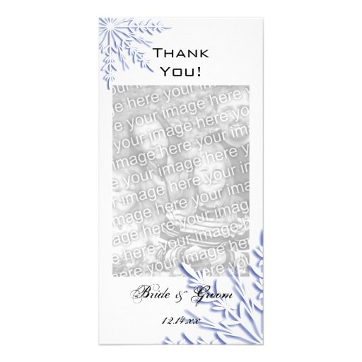 Blue Snowflake Wedding Thank You Photo Card