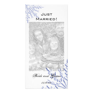 Blue Snowflake Winter Wedding Just Married Card