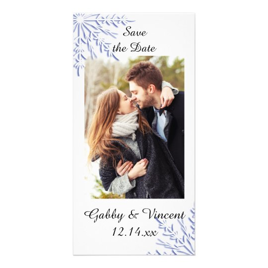 Blue Snowflake Winter Wedding Save the Date Personalized