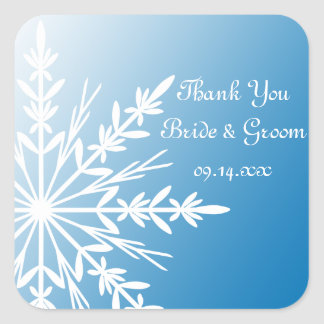 Blue Snowflake Winter Wedding Thank You Favor Tag Square Sticker
