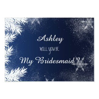 Blue Snowflake Winter Will you be my bridesmaid 13 Cm X 18 Cm Invitation Card