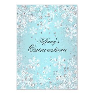 Blue Snowflake Winter Wonderland Quinceanera Card