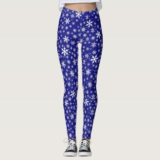 Blue Snowflakes All-Over Print Leggings