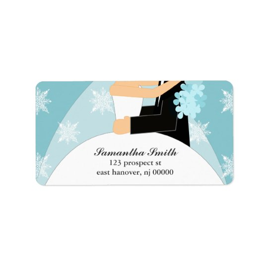 Blue Snowflakes Bride and Groom Label