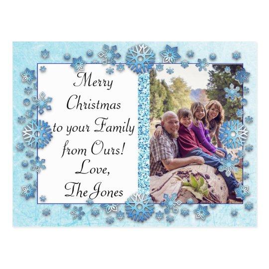 Blue Snowflakes Christmas Family Photo Postcard