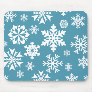 Blue Snowflakes Christmas Holiday Winter Pattern Mouse Pad