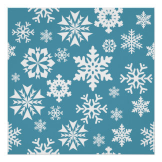 Blue Snowflakes Christmas Holiday Winter Pattern Print
