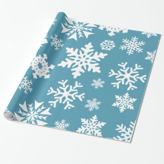 Blue Snowflakes Christmas Holiday Winter Pattern Wrapping Paper