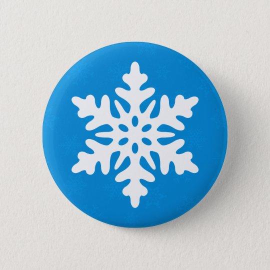 Blue Snowflakes Custom Christmas Button Pin Flair
