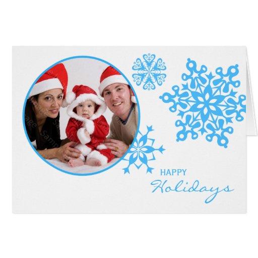 Blue Snowflakes Folded Photo Christmas Card