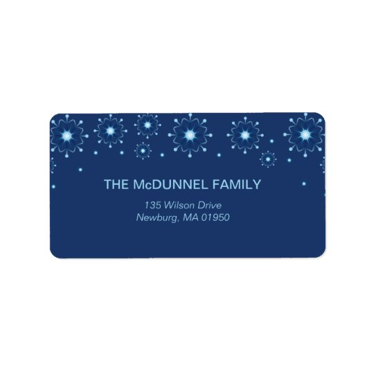Blue Snowflakes holiday address labels